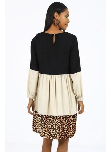 Emjey Garnili Üç Renk Elbise Siyah